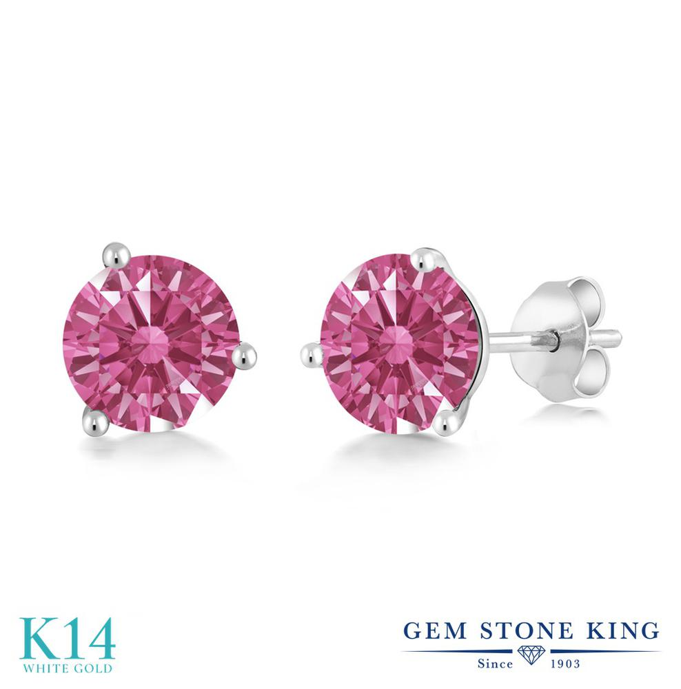Gem Stone King スワロフスキージルコニア (レッド) 14金 ホワイトゴールド(K14) ピアス レディース CZ シンプル スタッド 金属アレルギー対応 誕生日プレゼント