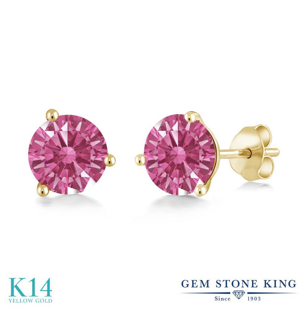 Gem Stone King スワロフスキージルコニア (レッド) 14金 イエローゴールド(K14) ピアス レディース CZ シンプル スタッド 金属アレルギー対応 誕生日プレゼント