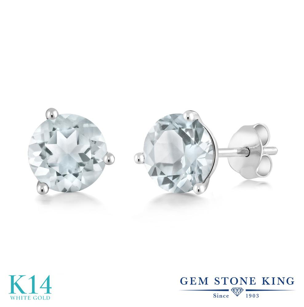 Gem Stone King 1.8カラット 天然 スカイブルートパーズ 14金 ホワイトゴールド(K14) ピアス レディース シンプル スタッド 天然石 11月 誕生石 金属アレルギー対応 誕生日プレゼント