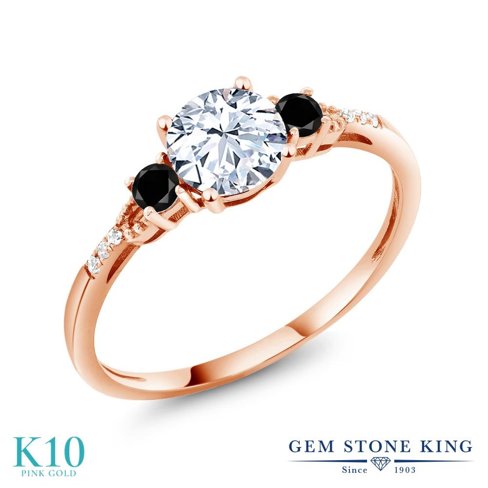 【10%OFF】 Gem Stone King 1.37カラット 合成ホワイトサファイア (ダイヤのような無色透明) ブラックダイヤモンド 指輪 リング レディース 10金 ピンクゴールド K10 大粒 マルチストーン クリスマスプレゼント 女性 彼女 妻 誕生日