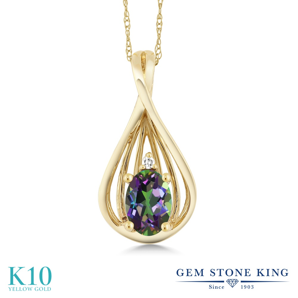 Gem Stone King 0.5カラット 天然石 ミスティックトパーズ (グリーン) 天然 ダイヤモンド 10金 イエローゴールド(K10) ネックレス ペンダント レディース 小粒 シンプル 天然石 金属アレルギー対応 誕生日プレゼント