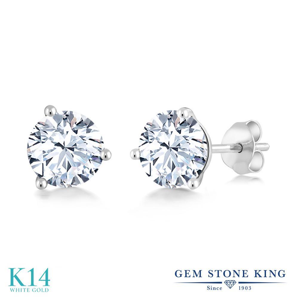 Gem Stone King 2.4カラット 合成ホワイトサファイア (ダイヤのような無色透明) 14金 ホワイトゴールド(K14) ピアス レディース 大粒 シンプル スタッド 金属アレルギー対応 誕生日プレゼント