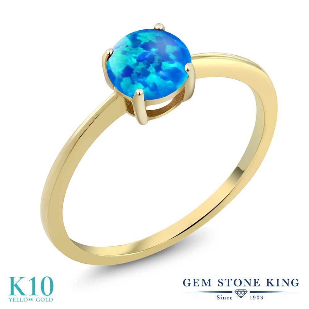Gem Stone King 0.75カラット シミュレイテッド ブルーオパール 10金 イエローゴールド(K10) 指輪 リング レディース 一粒 シンプル ソリティア 10月 誕生石 金属アレルギー対応 誕生日プレゼント