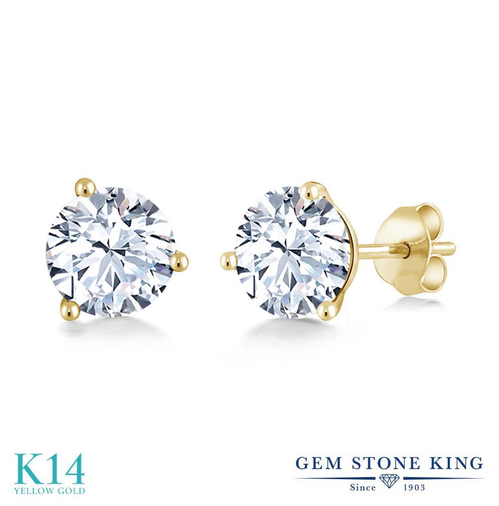 Gem Stone King 2.4カラット 合成ホワイトサファイア (ダイヤのような無色透明) 14金 イエローゴールド(K14) ピアス レディース 大粒 シンプル スタッド 金属アレルギー対応 誕生日プレゼント