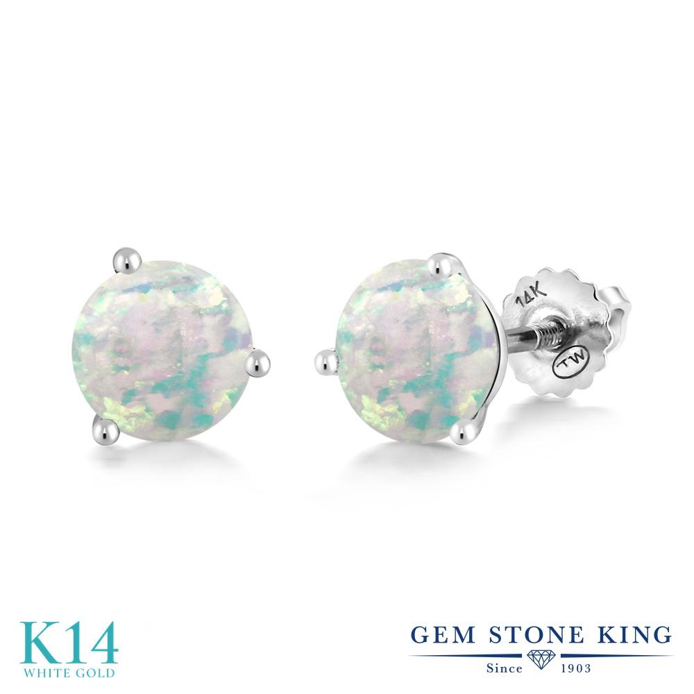 Gem Stone King 1.5カラット シミュレイテッド ホワイトオパール 14金 ホワイトゴールド(K14) ピアス レディース シンプル スタッド スクリュー 10月 誕生石 金属アレルギー対応 誕生日プレゼント