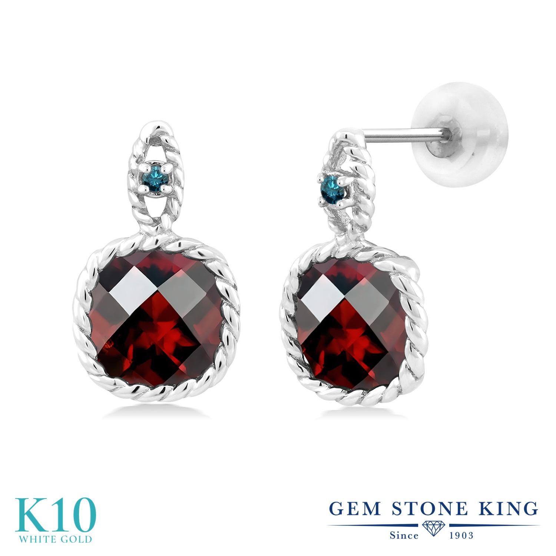 Gem Stone King 4.83カラット 天然 ガーネット 天然 ブルーダイヤモンド 10金 ホワイトゴールド(K10) ピアス レディース 大粒 ぶら下がり 天然石 1月 誕生石 金属アレルギー対応 誕生日プレゼント