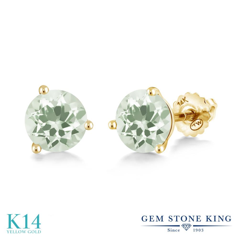 Gem Stone King 1.9カラット 天然 プラジオライト (グリーンアメジスト) 14金 イエローゴールド(K14) ピアス レディース シンプル スタッド スクリュー 天然石 金属アレルギー対応 誕生日プレゼント