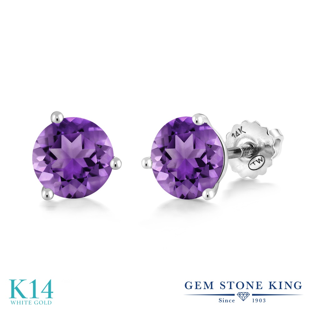 Gem Stone King 1.4カラット 天然 アメジスト 14金 ホワイトゴールド(K14) ピアス レディース シンプル スタッド スクリュー 天然石 2月 誕生石 金属アレルギー対応 誕生日プレゼント