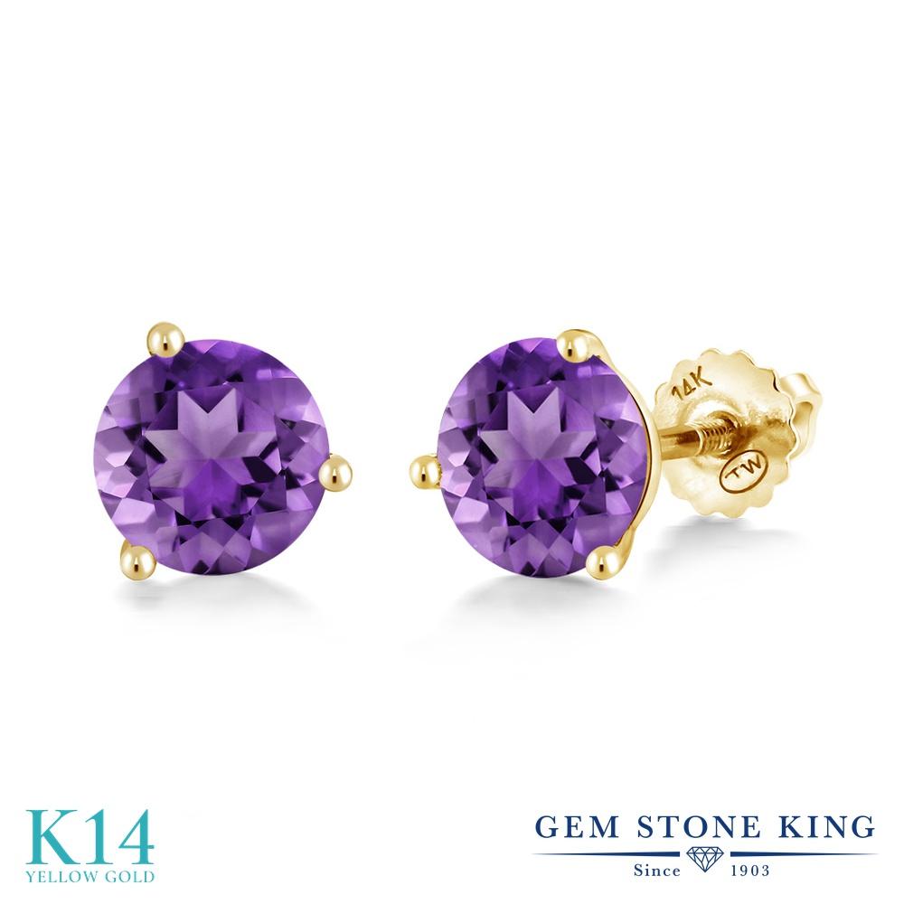 Gem Stone King 1.4カラット 天然 アメジスト 14金 イエローゴールド(K14) ピアス レディース シンプル スタッド スクリュー 天然石 2月 誕生石 金属アレルギー対応 誕生日プレゼント