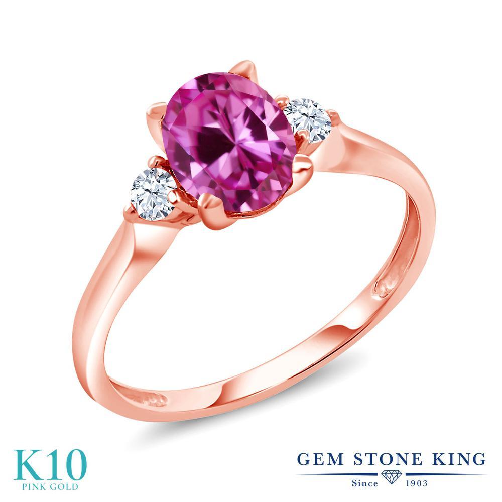 【10%OFF】 Gem Stone King 1.75カラット 合成ピンクサファイア 合成ホワイトサファイア (ダイヤのような無色透明) 指輪 リング レディース 10金 ピンクゴールド K10 大粒 シンプル スリーストーン クリスマスプレゼント 女性 彼女 妻 誕生日