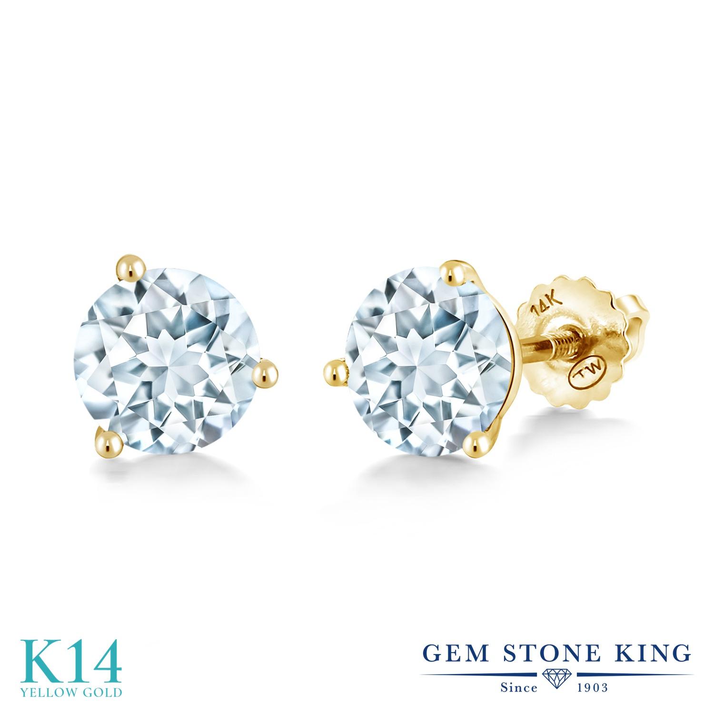 Gem Stone King 1.5カラット 天然 アクアマリン 14金 イエローゴールド(K14) ピアス レディース シンプル スタッド スクリュー 天然石 3月 誕生石 金属アレルギー対応 誕生日プレゼント
