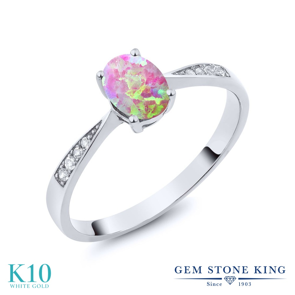 Gem Stone King 0.69カラット シミュレイテッド ピンクオパール 天然 ダイヤモンド 10金 ホワイトゴールド(K10) 指輪 リング レディース ソリティア 10月 誕生石 金属アレルギー対応 誕生日プレゼント