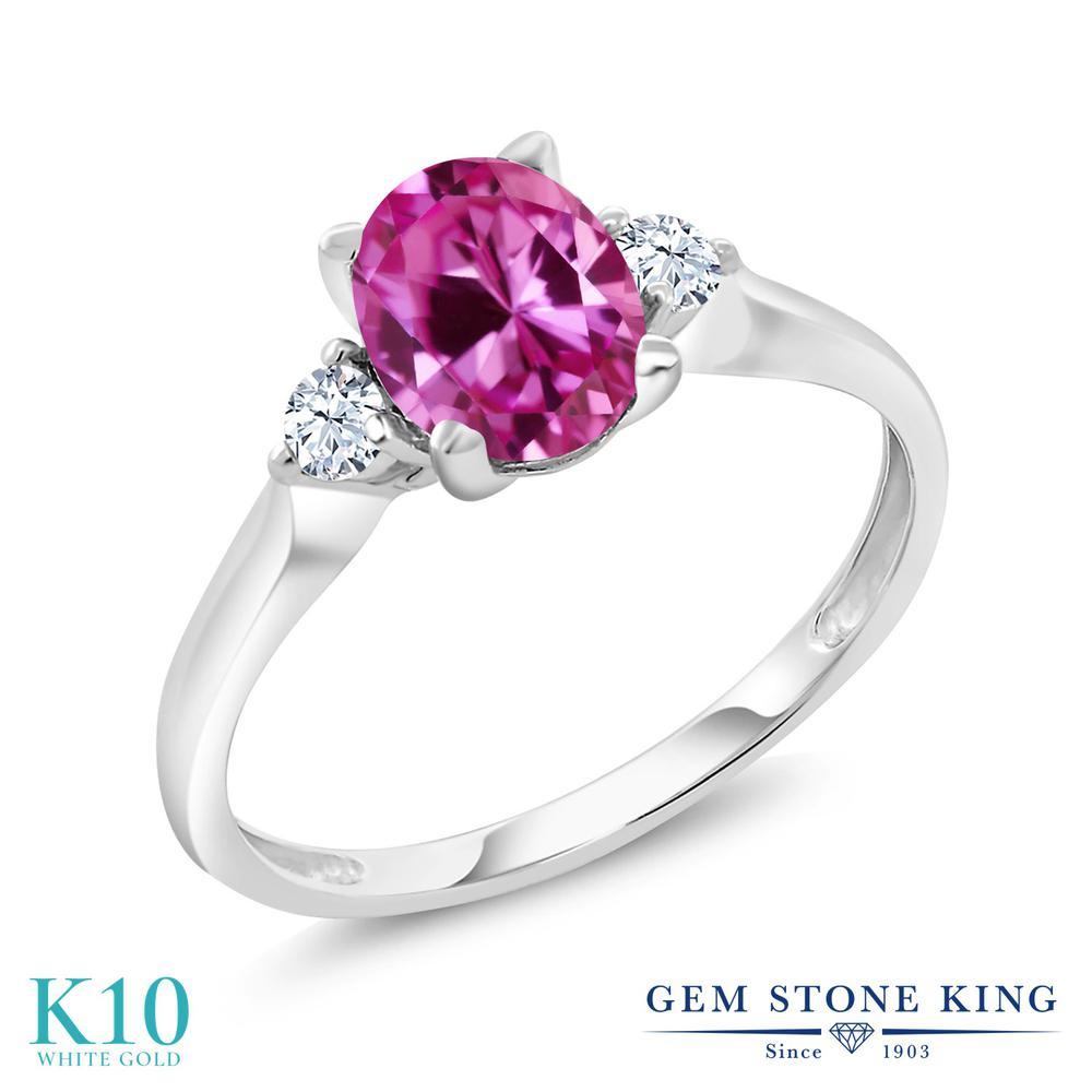 【10%OFF】 Gem Stone King 1.75カラット 合成ピンクサファイア 合成ホワイトサファイア (ダイヤのような無色透明) 指輪 リング レディース 10金 ホワイトゴールド K10 大粒 シンプル スリーストーン クリスマスプレゼント 女性 彼女 妻 誕生日