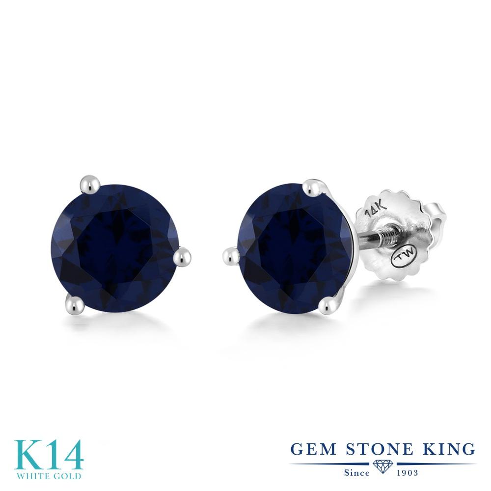 Gem Stone King 1.5カラット シミュレイテッド サファイア 14金 ホワイトゴールド(K14) ピアス レディース シンプル スタッド スクリュー 金属アレルギー対応 誕生日プレゼント