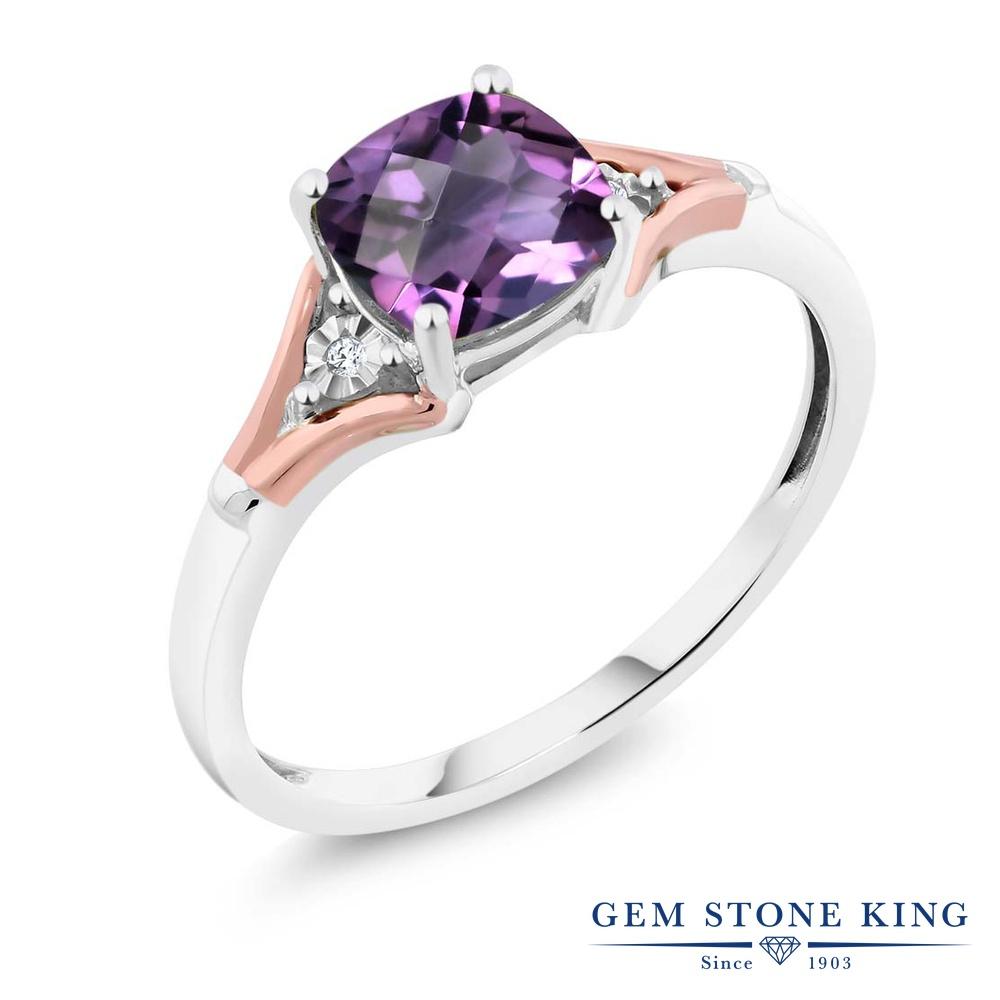 【10%OFF】 Gem Stone King 1.1カラット 天然 アメジスト ダイヤモンド 指輪 リング レディース 10金 Two Toneゴールド K10 アメシスト 大粒 一粒 シンプル ソリティア 天然石 2月 誕生石 クリスマスプレゼント 女性 彼女 妻 誕生日
