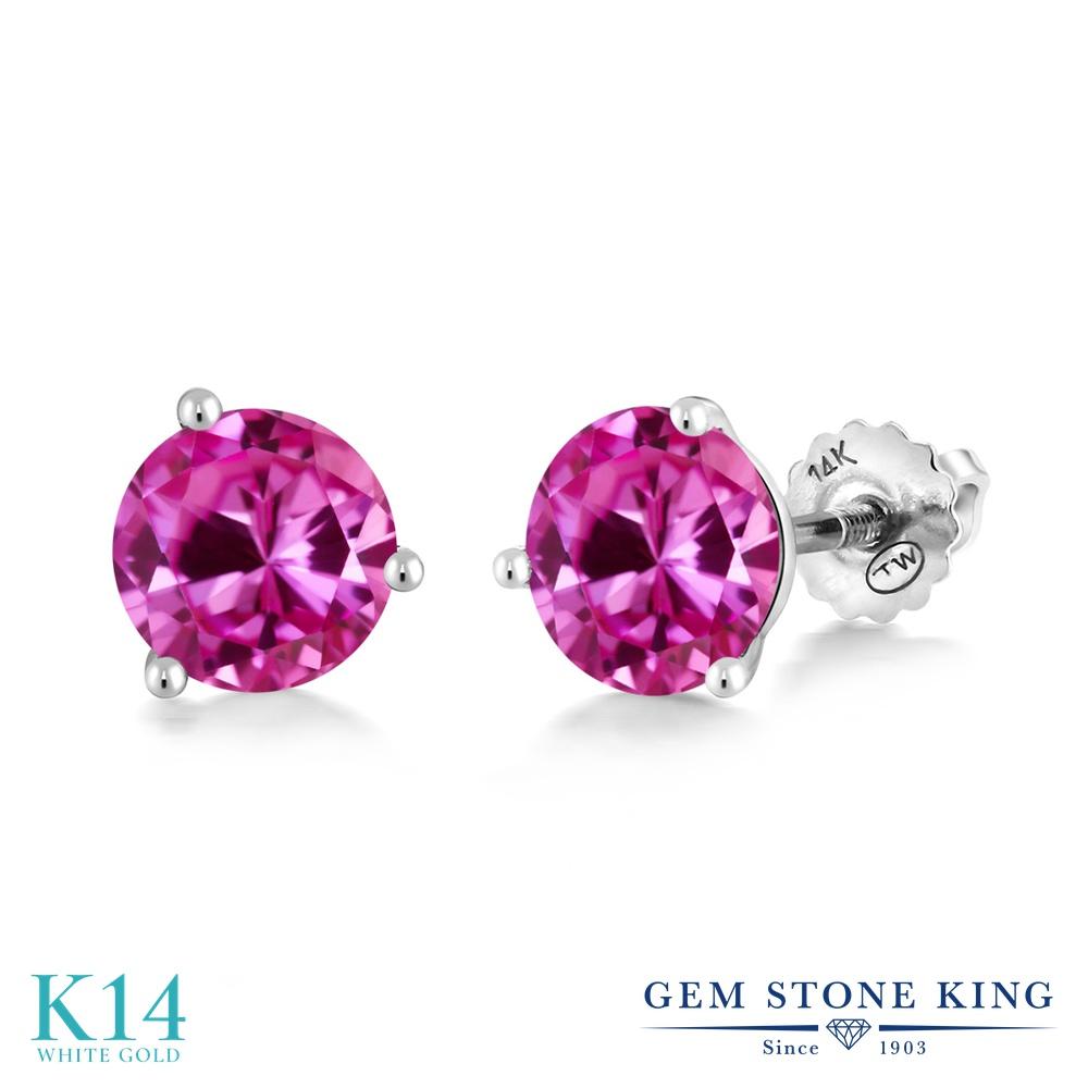 Gem Stone King 2カラット 合成ピンクサファイア 14金 ホワイトゴールド(K14) ピアス レディース 大粒 シンプル スタッド スクリュー 金属アレルギー対応 誕生日プレゼント