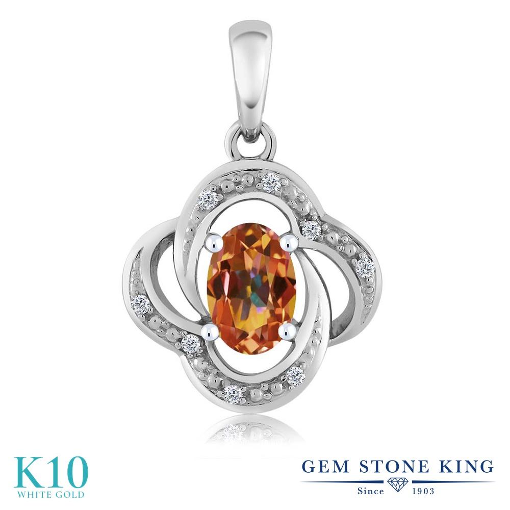 【クーポンで7%OFF】 Gem Stone King 0.54カラット 天然石 エクスタシーミスティックトパーズ 天然 ダイヤモンド 10金 ホワイトゴールド(K10) ネックレス ペンダント レディース 小粒 プレゼント 女性 彼女 誕生日 クリスマス