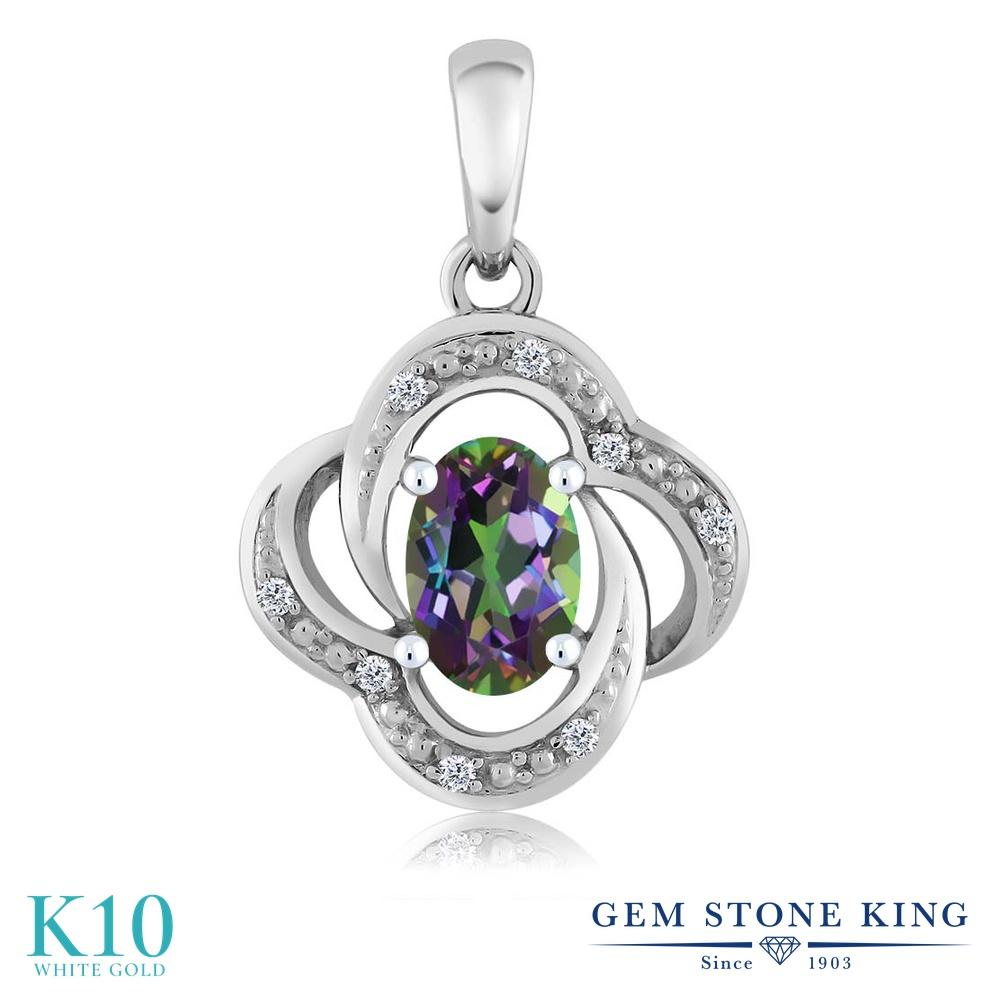 【クーポンで7%OFF】 Gem Stone King 0.54カラット 天然石 ミスティックトパーズ (グリーン) 天然 ダイヤモンド 10金 ホワイトゴールド(K10) ネックレス ペンダント レディース 小粒 プレゼント 女性 彼女 誕生日 クリスマス