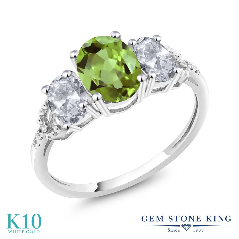Gem Stone King 2.38カラット 天然石 ペリドット 天然 トパーズ (無色透明) 天然 ダイヤモンド 10金 ホワイトゴールド(K10) 指輪 リング レディース 大粒 スリーストーン 天然石 8月 誕生石 金属アレルギー対応 婚約指輪 エンゲージリング