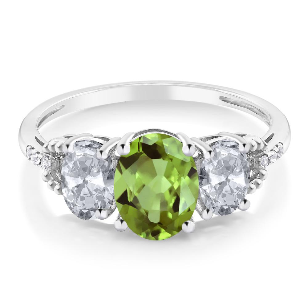 2 38カラット 天然石 ペリドット 指輪 レディース リング 天然 トパーズダイヤモンド 10金 ホワイトゴールド K10 ブランド おしゃれ 3連 緑 大粒 スリーストーン 8月 誕生石 婚約指輪 エンゲージリングUGqSzVMp