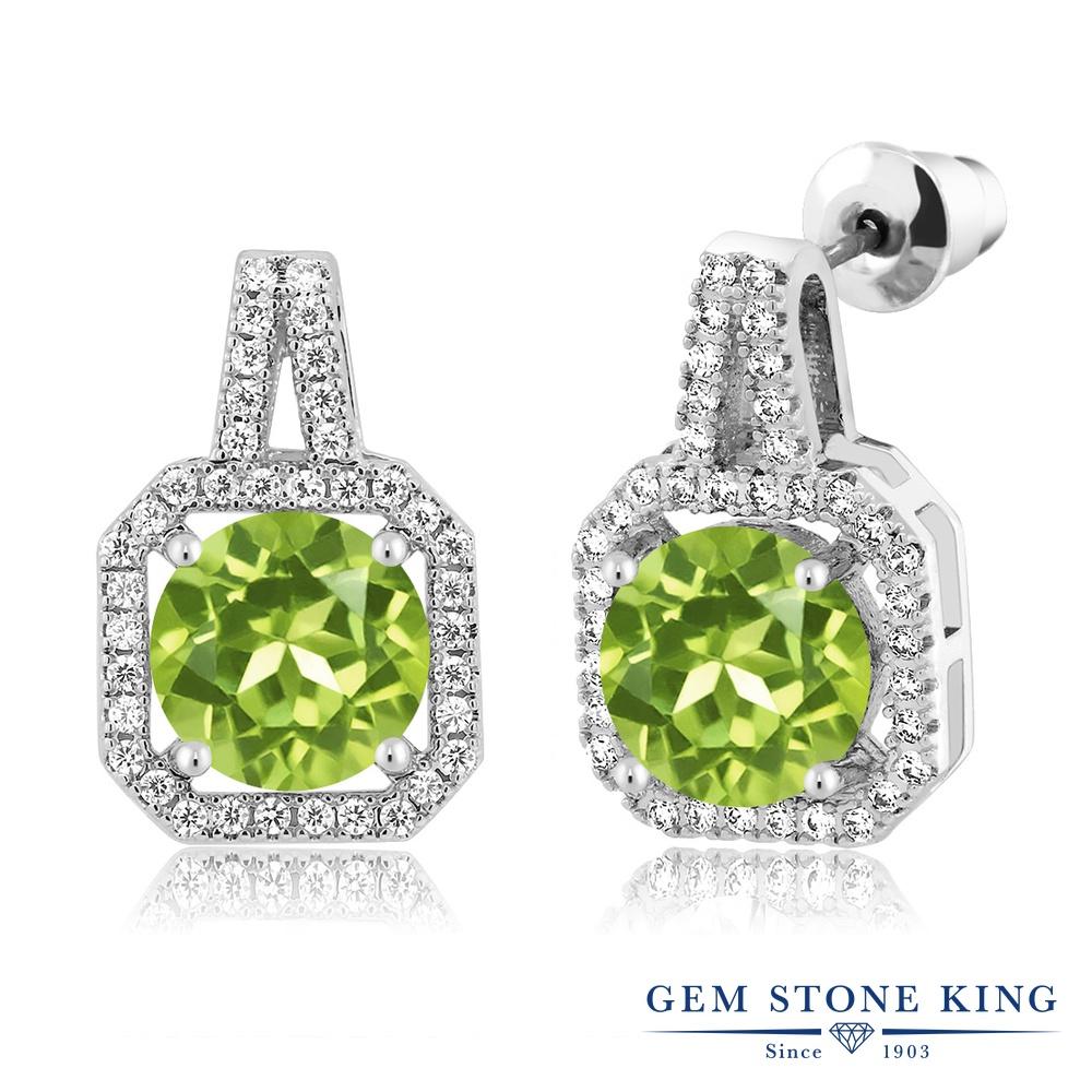 Gem Stone King 4.75カラット 天然石 ペリドット ロジウム プレーティング ピアス レディース 大粒 ダブル ヘイロー 大ぶり ぶら下がり 天然石 8月 誕生石 金属アレルギー対応 誕生日プレゼント