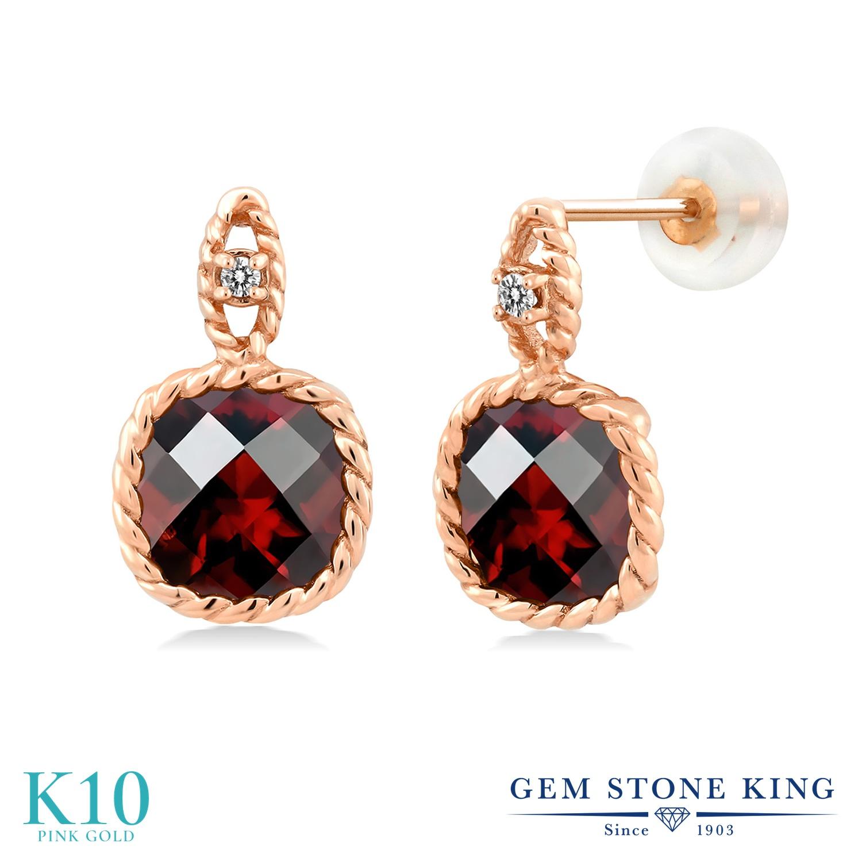 Gem Stone King 4.8カラット 天然 ガーネット 天然 ダイヤモンド 10金 ピンクゴールド(K10) ピアス レディース 大粒 ぶら下がり 天然石 1月 誕生石 金属アレルギー対応 誕生日プレゼント