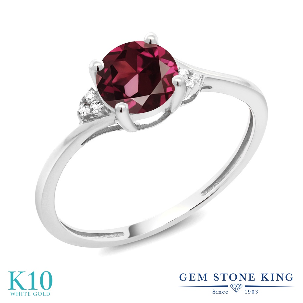Gem Stone King 1.04カラット 天然ロードライトガーネット 10金 ホワイトゴールド(K10) 天然ダイヤモンド 指輪 リング