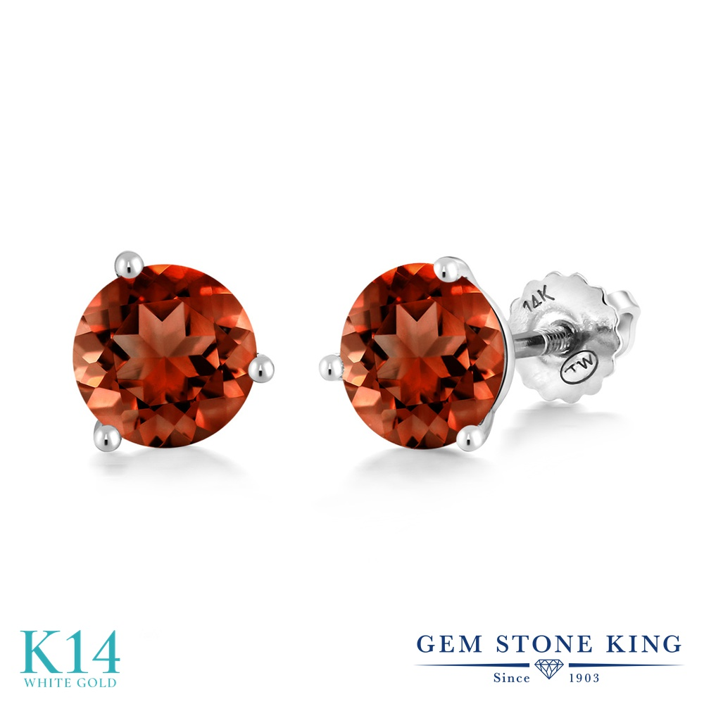 Gem Stone King 2カラット 天然 ガーネット 14金 ホワイトゴールド(K14) ピアス レディース 大粒 シンプル スタッド スクリュー 天然石 1月 誕生石 金属アレルギー対応 誕生日プレゼント