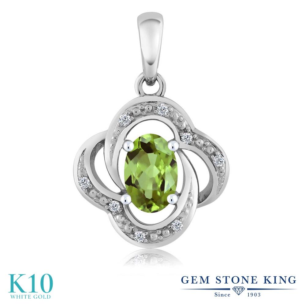 【クーポンで7%OFF】 Gem Stone King 0.54カラット 天然石 ペリドット 天然 ダイヤモンド 10金 ホワイトゴールド(K10) ネックレス ペンダント レディース 小粒 8月 誕生石 プレゼント 女性 彼女 誕生日 クリスマス