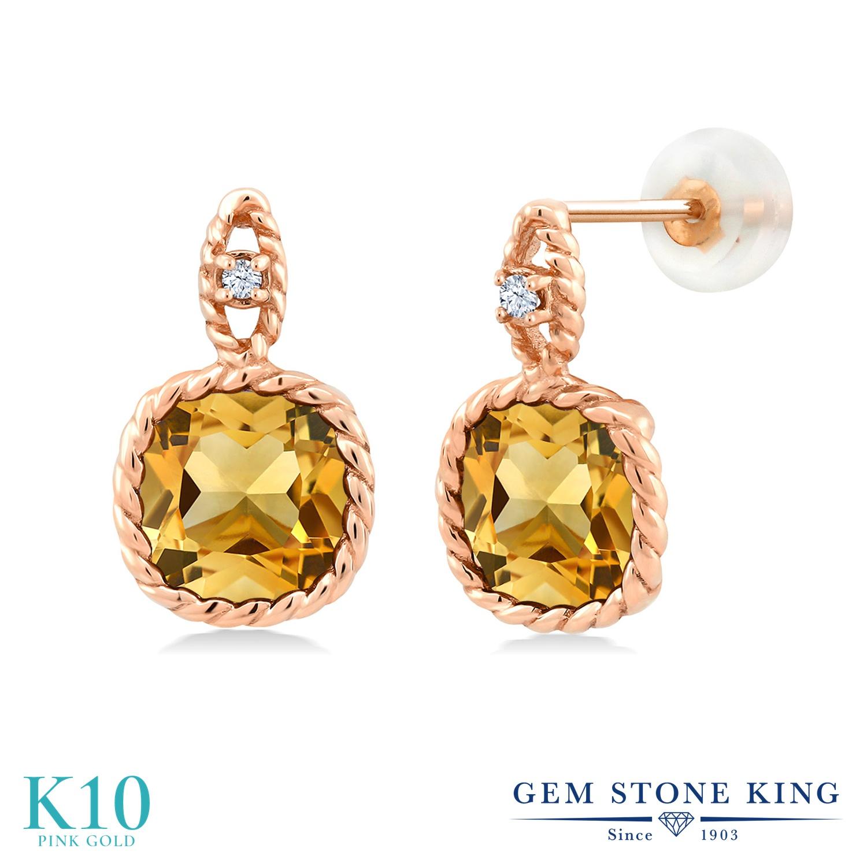 Gem Stone King 6.03カラット 天然 シトリン 合成ホワイトサファイア (ダイヤのような無色透明) 10金 ピンクゴールド(K10) ピアス レディース 大粒 ぶら下がり 天然石 11月 誕生石 金属アレルギー対応 誕生日プレゼント