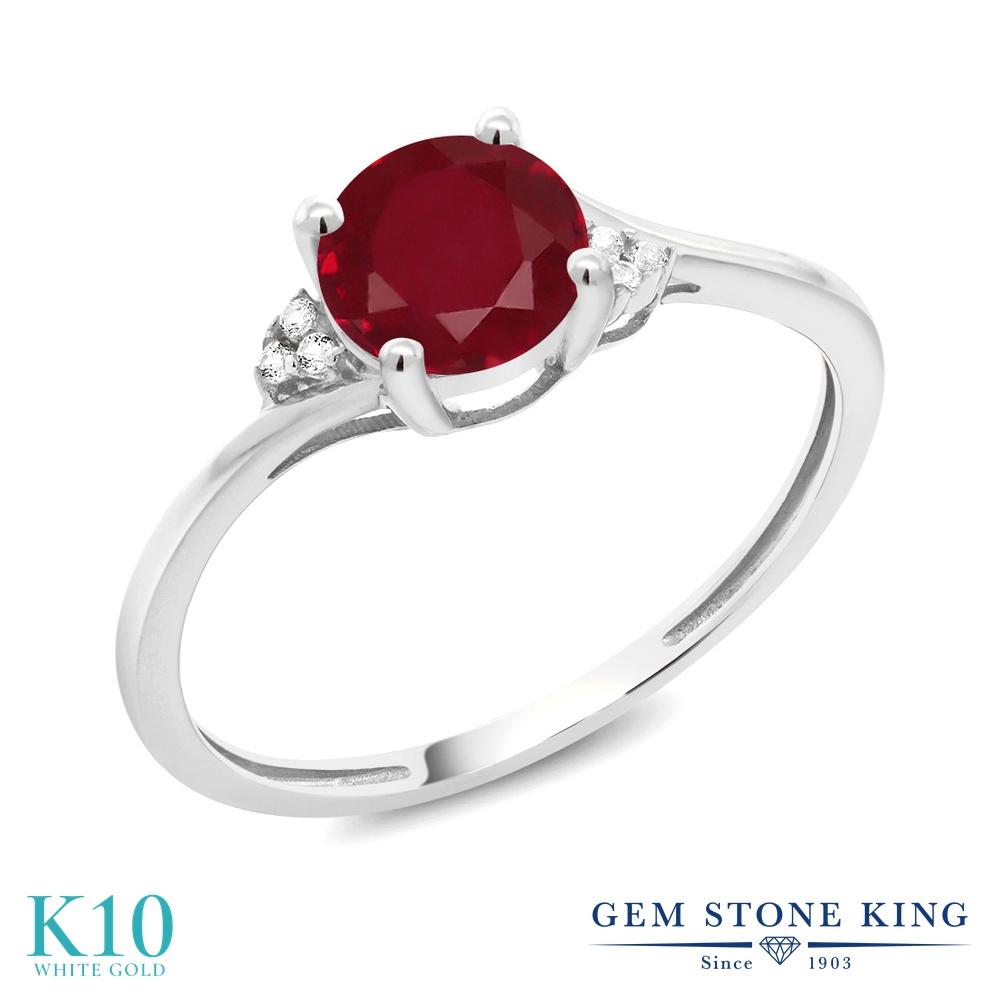 Gem Stone King 1.04カラット 天然ルビー 10金 ホワイトゴールド(K10) 天然ダイヤモンド 指輪 リング