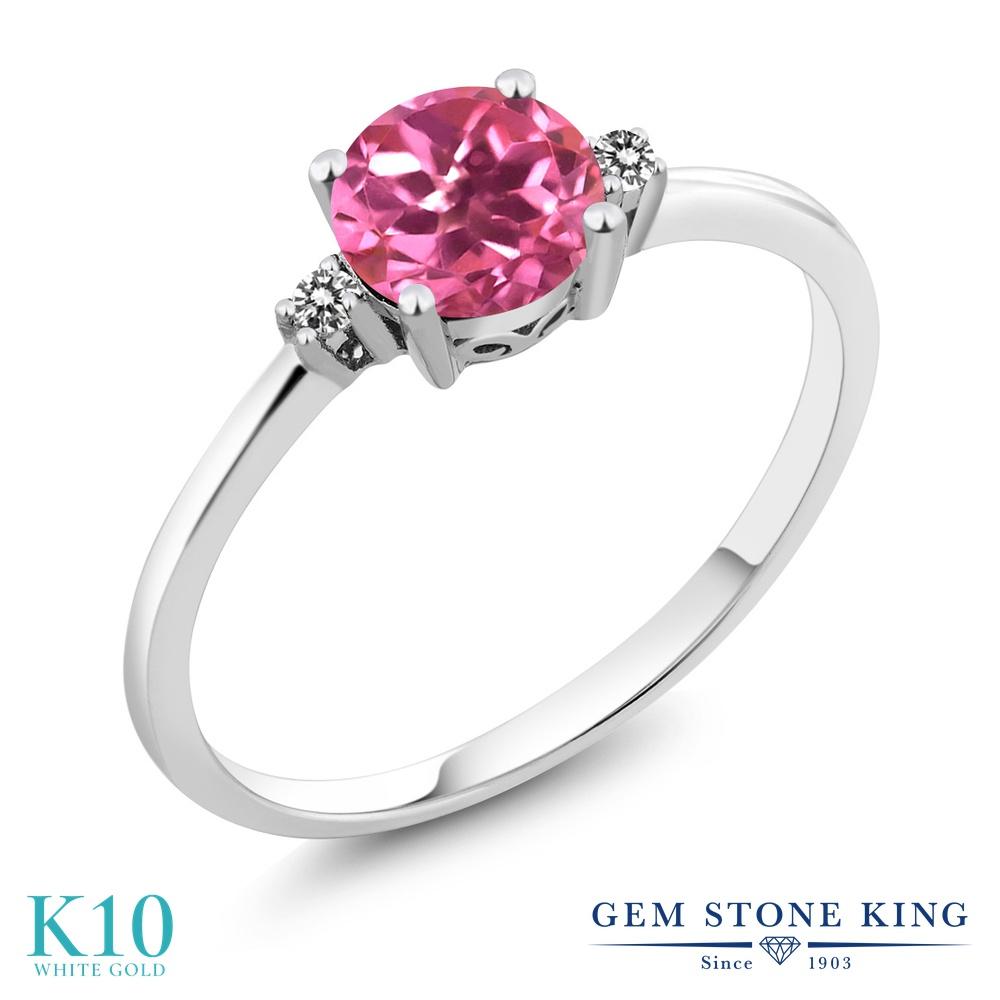【10%OFF】 Gem Stone King 1.03カラット 天然 ミスティックトパーズ (ピンク) ダイヤモンド 指輪 リング レディース 10金 ホワイトゴールド K10 大粒 一粒 シンプル ソリティア 天然石 婚約指輪 エンゲージリング