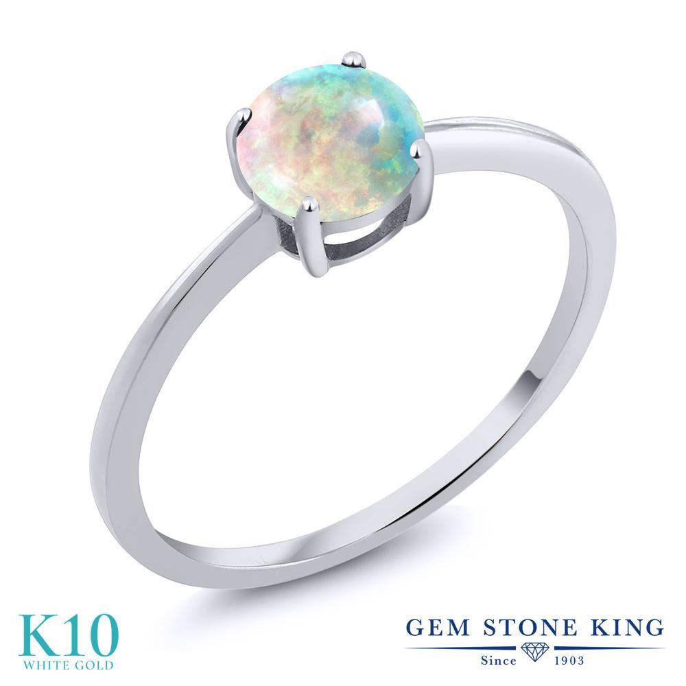 Gem Stone King 1カラット シミュレイテッド ホワイトオパール 10金 ホワイトゴールド(K10) 指輪 リング レディース 大粒 一粒 シンプル ソリティア 10月 誕生石 金属アレルギー対応 誕生日プレゼント