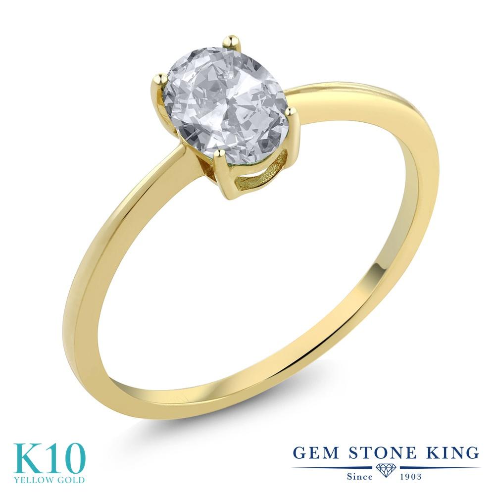 Gem Stone King 0.95カラット 天然 トパーズ (無色透明) 10金 イエローゴールド(K10) 指輪 リング レディース 一粒 シンプル ソリティア 天然石 11月 誕生石 金属アレルギー対応 婚約指輪 エンゲージリング
