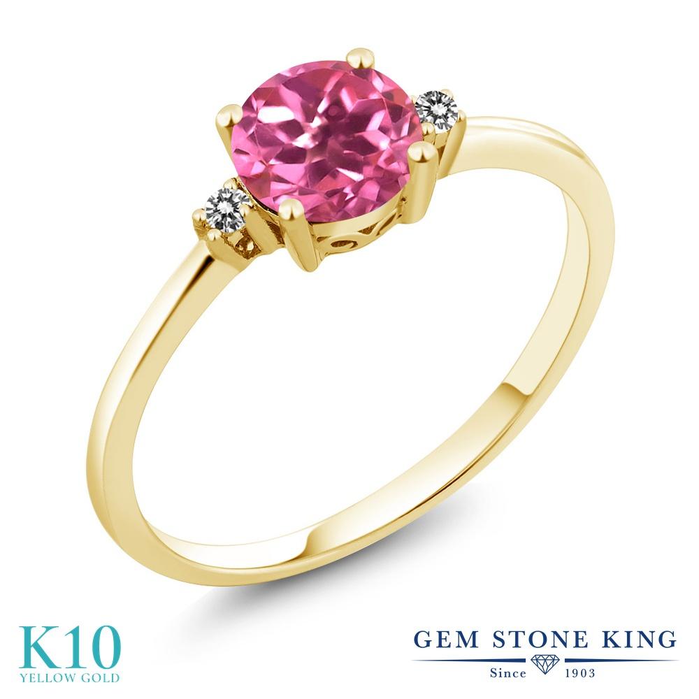Gem Stone King 1.03カラット 天然 ミスティックトパーズ (ピンク) 天然 ダイヤモンド 10金 イエローゴールド(K10) 指輪 リング レディース 大粒 シンプル ソリティア 天然石 金属アレルギー対応 誕生日プレゼント