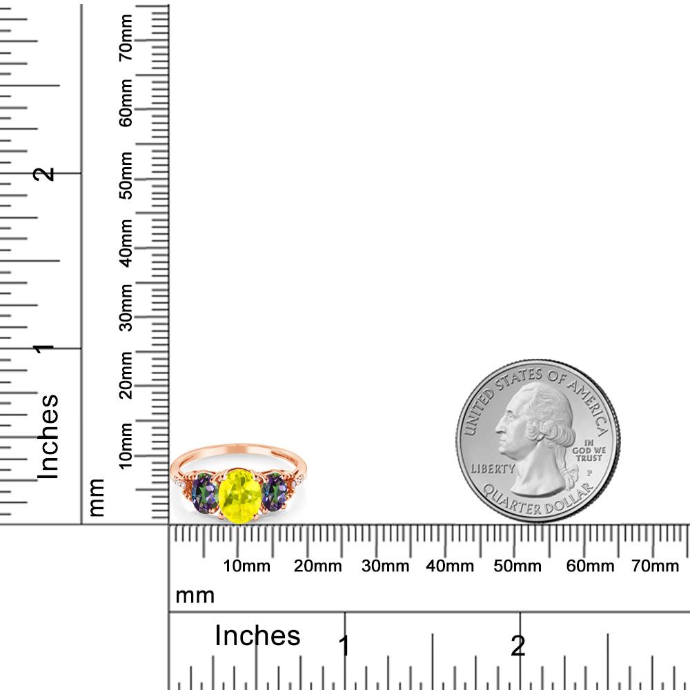 2 34カラット 天然石 ミスティックトパーズイエロー天然石 ミスティックトパーズグリーン天然 ダイヤモンド 10金 ピンクゴールド K10指輪 レディース リング 大粒 スリーストーン 天然石 金属アレルギー対応 誕生日プレゼントK3FT1Jlc