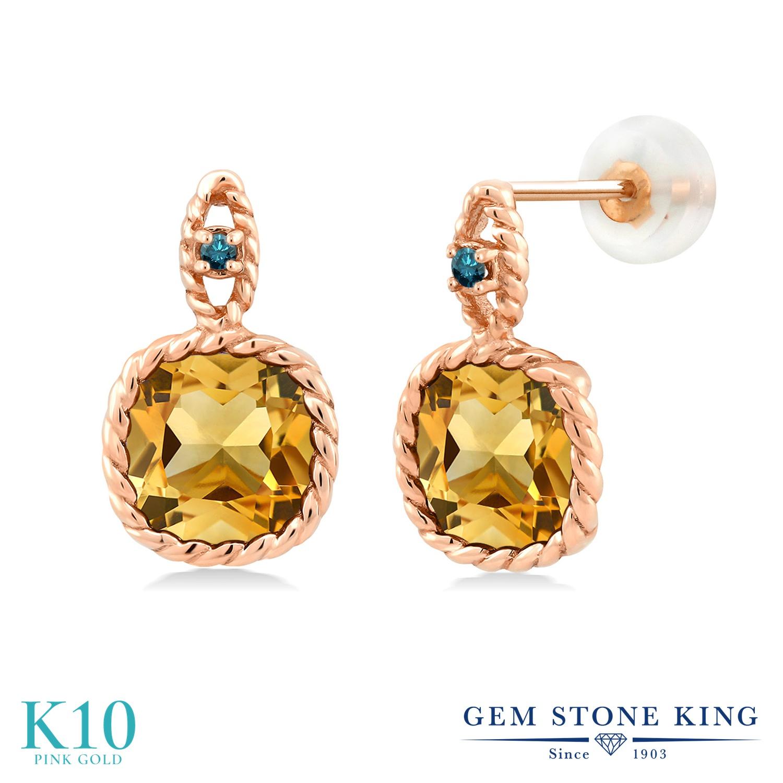 Gem Stone King 6.03カラット 天然 シトリン 天然 ブルーダイヤモンド 10金 ピンクゴールド(K10) ピアス レディース 大粒 ぶら下がり 天然石 11月 誕生石 金属アレルギー対応 誕生日プレゼント