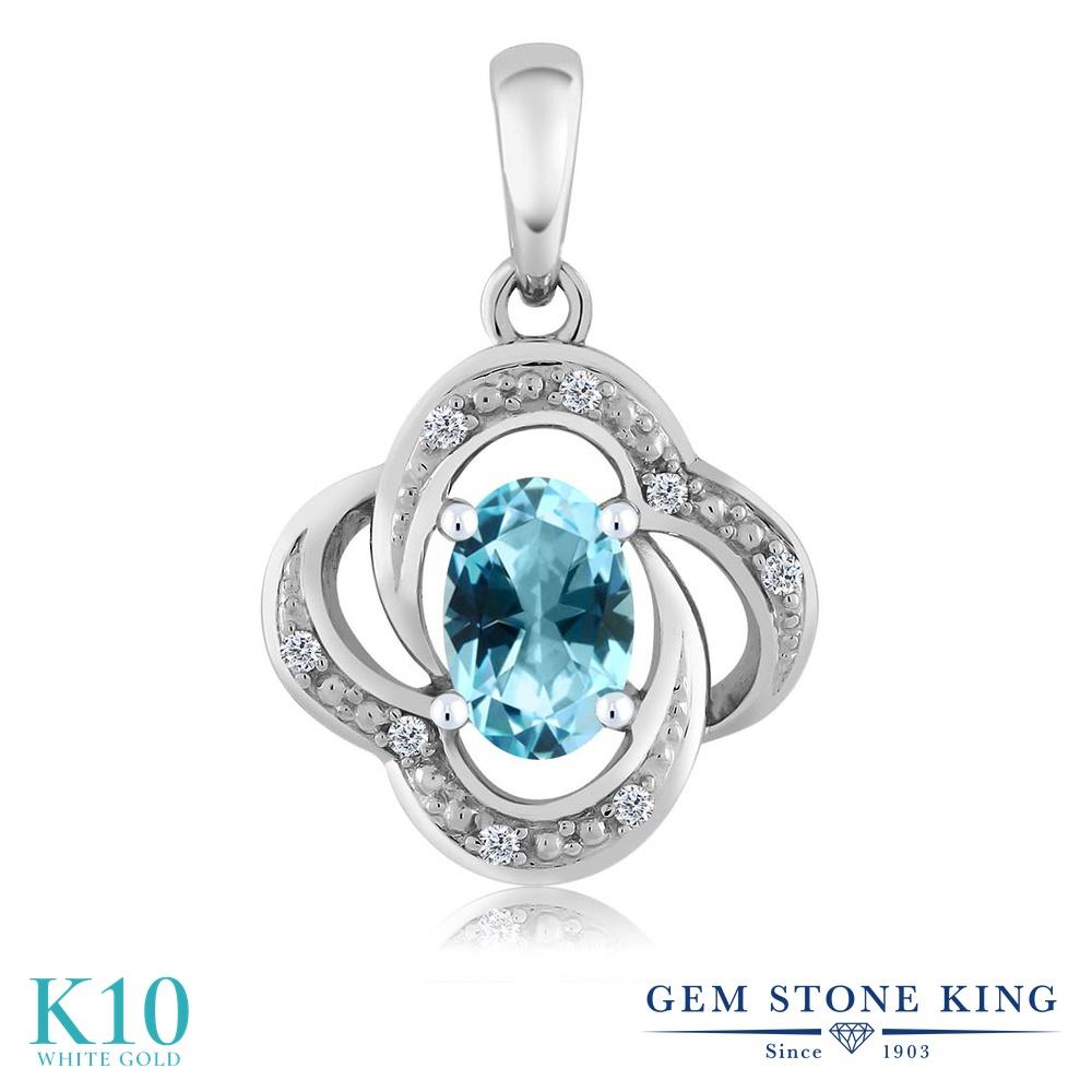 【クーポンで7%OFF】 Gem Stone King 0.54カラット 天然石 アイスブルートパーズ (スワロフスキー 天然石シリーズ) 天然 ダイヤモンド 10金 ホワイトゴールド(K10) ネックレス ペンダント レディース 小粒 プレゼント 女性 彼女 誕生日 クリスマス