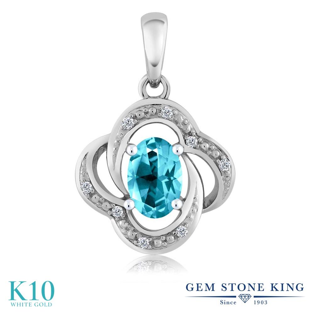 【クーポンで7%OFF】 Gem Stone King 1.04カラット 天然石 パライバトパーズ (スワロフスキー 天然石シリーズ) 天然 ダイヤモンド 10金 ホワイトゴールド(K10) ネックレス ペンダント レディース 大粒 プレゼント 女性 彼女 誕生日 クリスマス