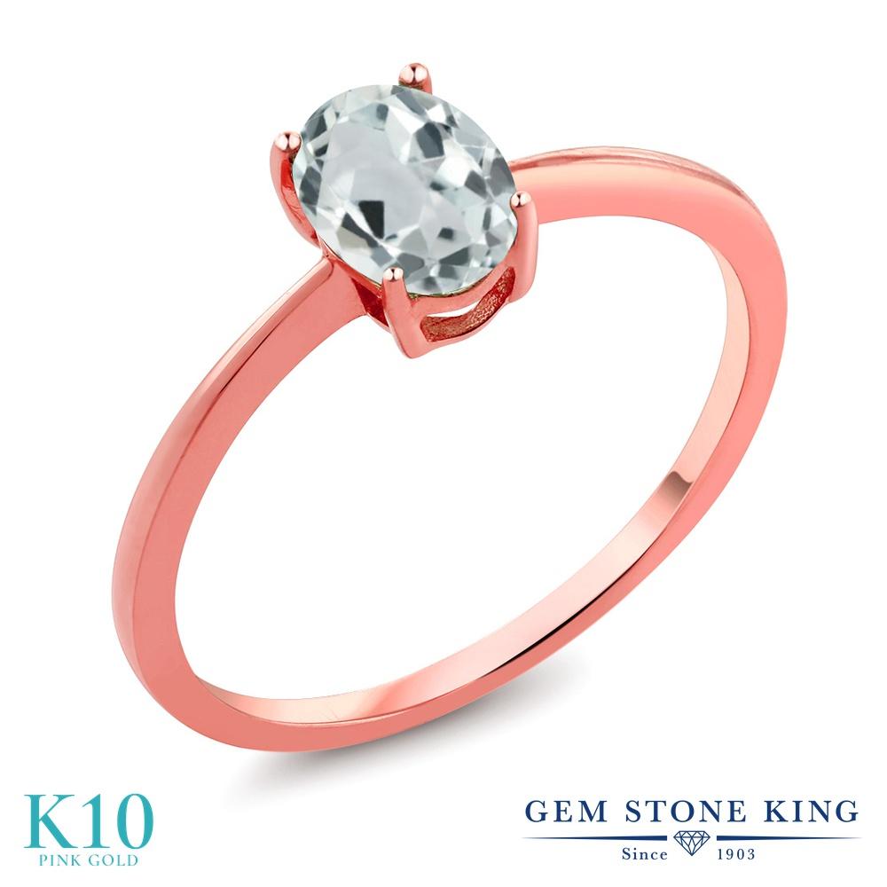 【10%OFF】 Gem Stone King 0.72カラット 天然 アクアマリン 指輪 リング レディース 10金 ピンクゴールド K10 一粒 シンプル ソリティア 天然石 3月 誕生石 クリスマスプレゼント 女性 彼女 妻 誕生日