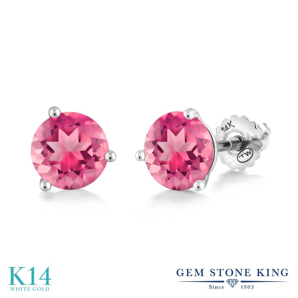 Gem Stone King 2カラット 天然 ミスティックトパーズ (ピンク) 14金 ホワイトゴールド(K14) ピアス レディース 大粒 シンプル スタッド スクリュー 天然石 金属アレルギー対応 誕生日プレゼント