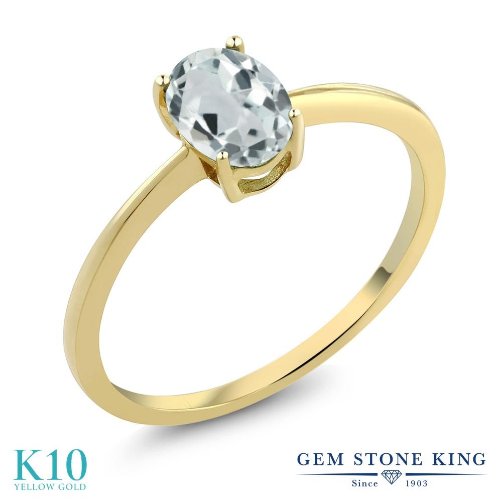 【10%OFF】 Gem Stone King 0.72カラット 天然 アクアマリン 指輪 リング レディース 10金 イエローゴールド K10 一粒 シンプル ソリティア 天然石 3月 誕生石 婚約指輪 エンゲージリング