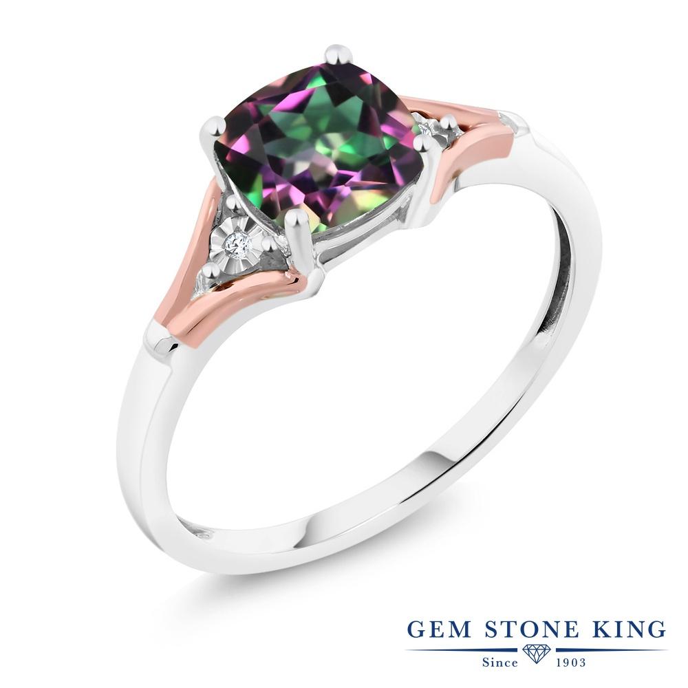 Gem Stone King 1.7カラット 天然石 ミスティックトパーズ (グリーン) 天然 ダイヤモンド 10金 Two Toneゴールド(K10) 指輪 リング レディース 大粒 一粒 シンプル ソリティア 天然石 金属アレルギー対応 誕生日プレゼント