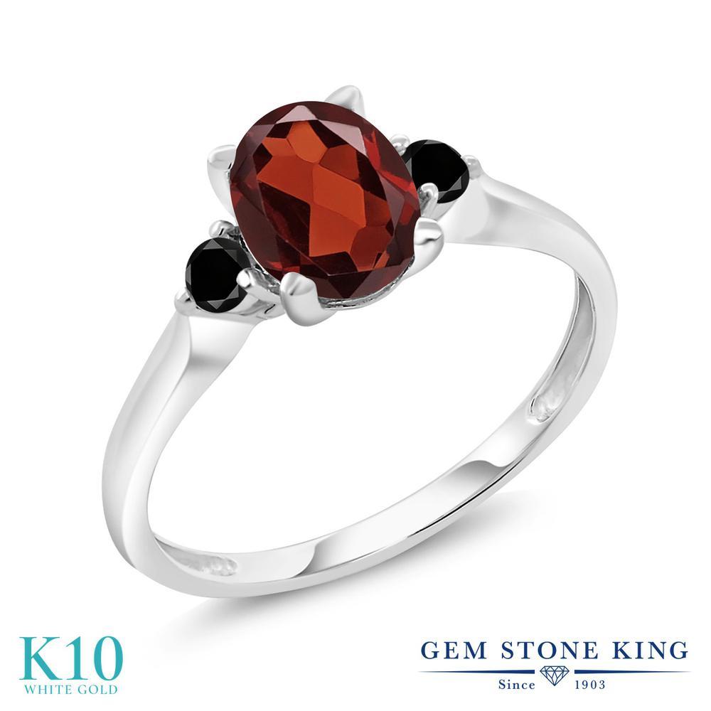 Gem Stone King 1.58カラット 天然 ガーネット 天然ブラックダイヤモンド 10金 ホワイトゴールド(K10) 指輪 リング レディース 大粒 シンプル スリーストーン 天然石 1月 誕生石 金属アレルギー対応 誕生日プレゼント