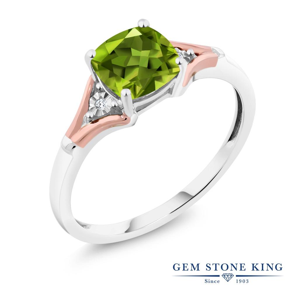 【10%OFF】 Gem Stone King 1.7カラット 天然石 ペリドット 天然 ダイヤモンド 指輪 リング レディース 10金 Two Toneゴールド K10 大粒 一粒 シンプル ソリティア 8月 誕生石 クリスマスプレゼント 女性 彼女 妻 誕生日
