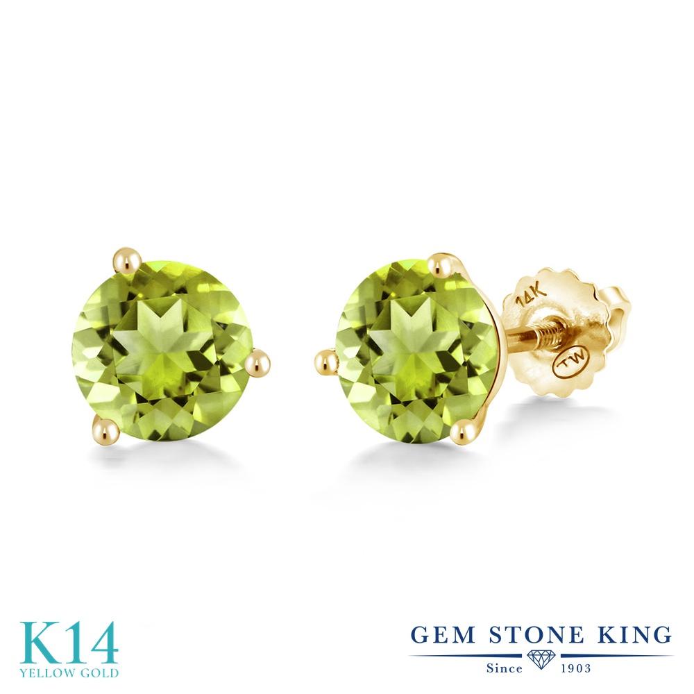 Gem Stone King 1.7カラット 天然石 ペリドット 14金 イエローゴールド(K14) ピアス レディース シンプル スタッド スクリュー 天然石 8月 誕生石 金属アレルギー対応 誕生日プレゼント
