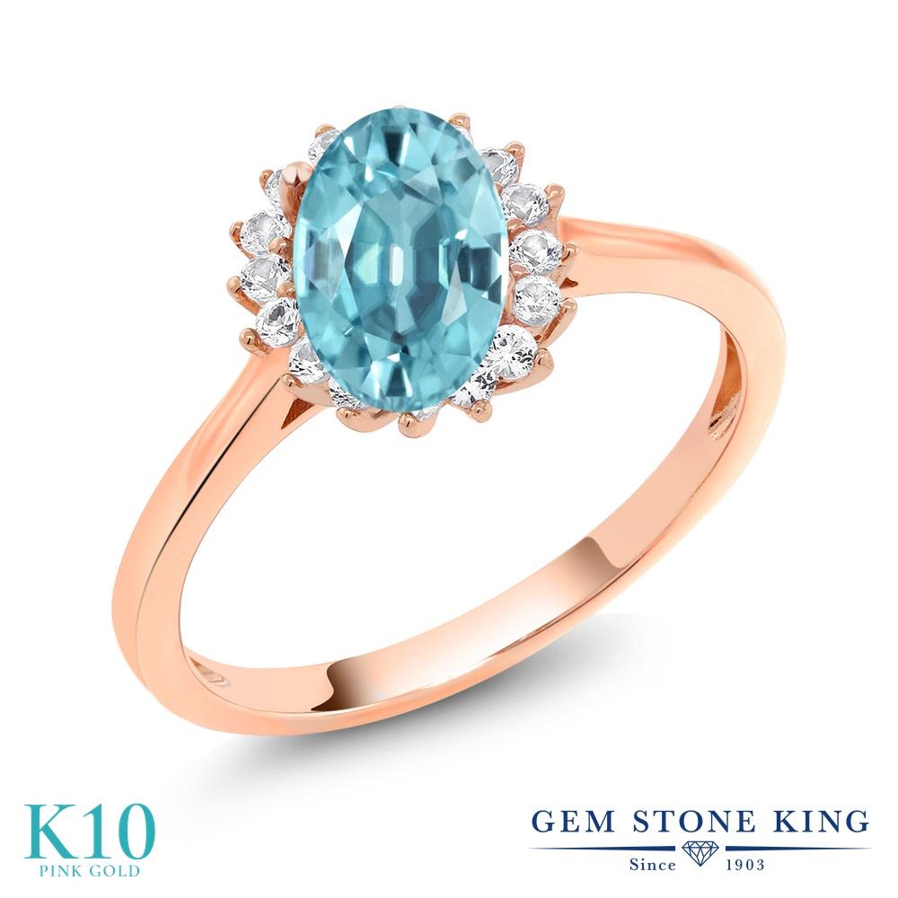 【10%OFF】 Gem Stone King 1.44カラット 天然石 ブルージルコン 合成ホワイトサファイア (ダイヤのような無色透明) 指輪 リング レディース 10金 ピンクゴールド K10 大粒 クラスター 12月 誕生石 クリスマスプレゼント 女性 彼女 妻 誕生日