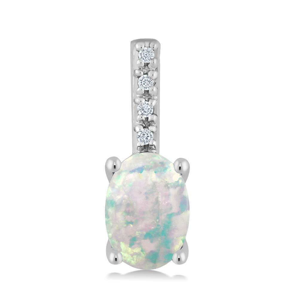 Gem Stone King 0.65カラット シミュレイテッドホワイトオパール 14金 ホワイトゴールド(K14) 天然ダイヤモンド ネックレス ペンダント