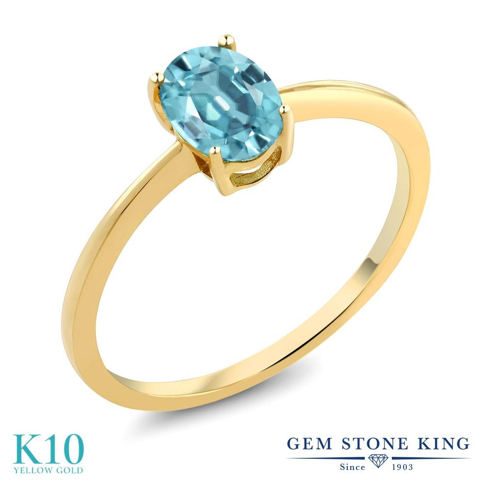 【10%OFF】 Gem Stone King 1.2カラット 天然石 ブルージルコン 指輪 リング レディース 10金 イエローゴールド K10 大粒 一粒 シンプル ソリティア 12月 誕生石 クリスマスプレゼント 女性 彼女 妻 誕生日