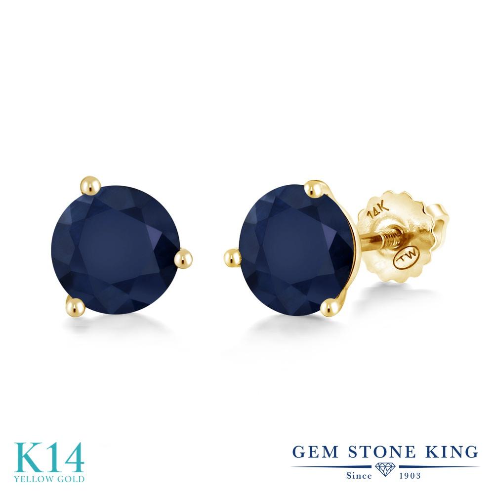 Gem Stone King 2カラット 天然 サファイア 14金 イエローゴールド(K14) ピアス レディース 大粒 シンプル スタッド スクリュー 天然石 9月 誕生石 金属アレルギー対応 誕生日プレゼント